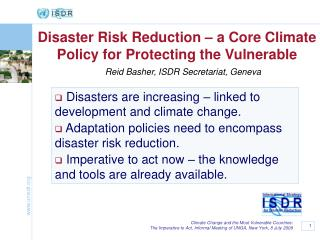Disaster Risk Reduction – a Core Climate Policy for Protecting the Vulnerable