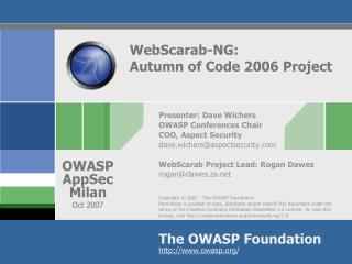WebScarab-NG: Autumn of Code 2006 Project