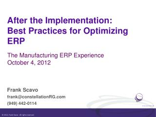 After the Implementation:  Best Practices for Optimizing ERP
