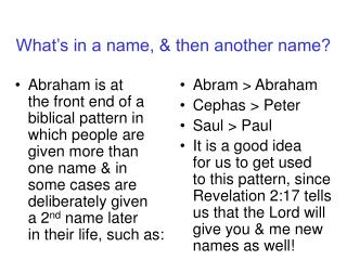 What's in a name, & then another name?