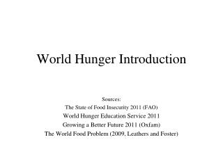 World Hunger Introduction