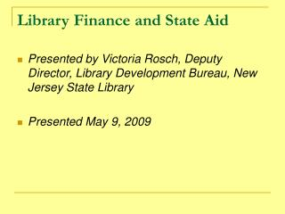 Library Finance and State Aid