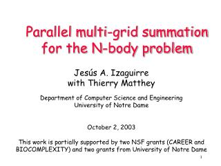 Parallel multi-grid summation for the N-body problem