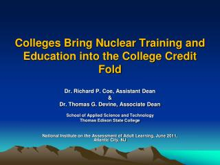 Colleges Bring Nuclear Training and Education into the College Credit Fold