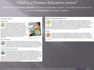 What is a Distance Education course?