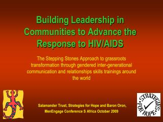Building Leadership in  Communities to Advance the Response to HIV/AIDS