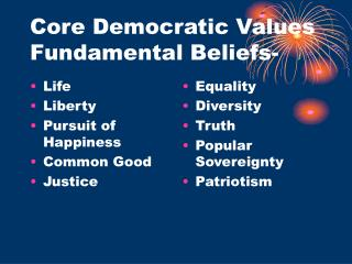 Core Democratic Values Fundamental Beliefs-