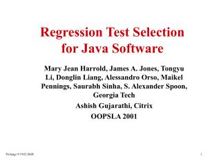 Regression Test Selection for Java Software