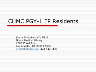 CHMC PGY-1 FP Residents