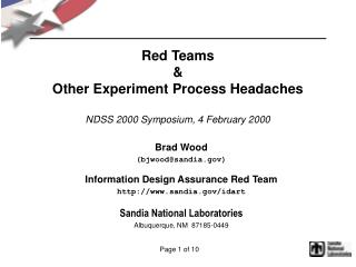 Red Teams & Other Experiment Process Headaches NDSS 2000 Symposium, 4 February 2000