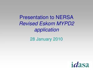 Presentation to NERSA Revised Eskom MYPD2 application