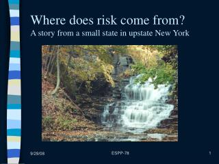 Where does risk come from? A story from a small state in upstate New York