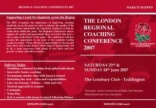 THE LONDON  REGIONAL COACHING CONFERENCE 2007