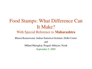 Food Stamps: What Difference Can It Make? With Special Reference to  Maharashtra