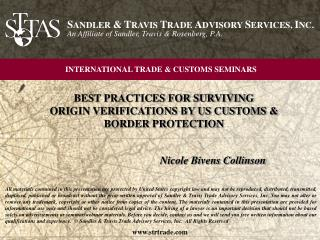 BEST PRACTICES FOR SURVIVING  ORIGIN VERIFICATIONS BY US CUSTOMS & BORDER PROTECTION