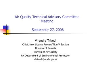Air Quality Technical Advisory Committee Meeting  September 27, 2006