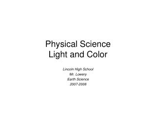 Physical Science Light and Color