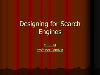 Designing for Search Engines