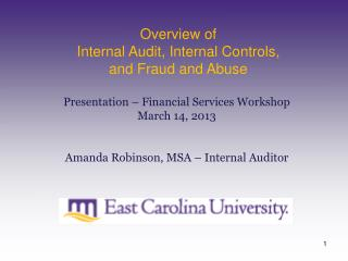 Overview of  Internal Audit, Internal Controls, and Fraud and Abuse