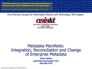 Metadata Manifesto: Integration, Reconciliation and Change  of Enterprise Metadata