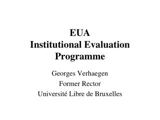 EUA Institutional Evaluation Programme