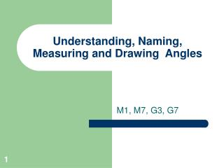 Understanding, Naming, Measuring and Drawing  Angles