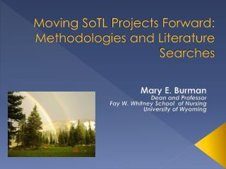 Moving  SoTL  Projects Forward: Methodologies and Literature Searches