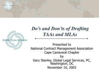 Do's and Don'ts of Drafting TAAs and MLAs