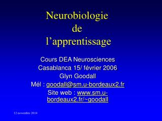 Neurobiologie  de  l'apprentissage
