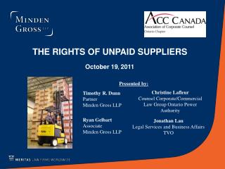THE RIGHTS OF UNPAID SUPPLIERS October 19 ,  2011