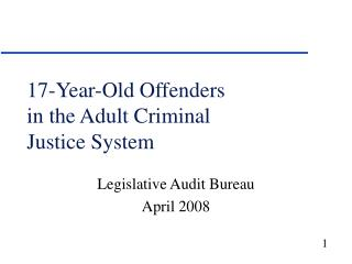 17-Year-Old Offenders in the Adult Criminal Justice System