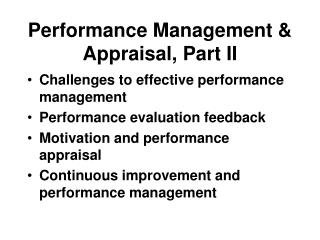 Performance Management & Appraisal, Part II