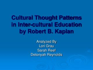 Cultural Thought Patterns in Inter-cultural Education by Robert B. Kaplan