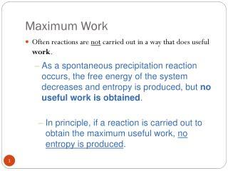 Maximum Work