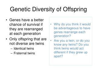 Genetic Diversity of Offspring