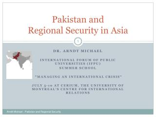 Pakistan and  Regional Security in Asia
