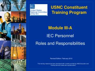 Module III-A IEC Personnel Roles and Responsibilities