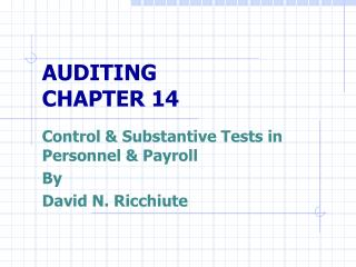 AUDITING  CHAPTER 14