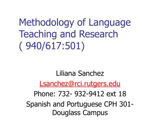 Methodology of Language Teaching and Research  ( 940/617:501)