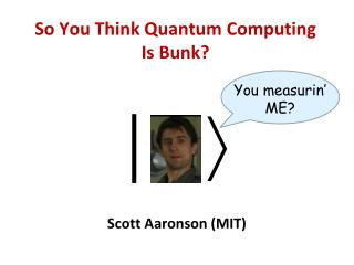So You Think Quantum Computing Is Bunk?