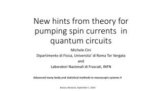 New  hints  from  theory  for  pumping  spin  currents   in quantum  circuits