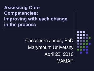 Assessing Core Competencies:   Improving with each change in the process