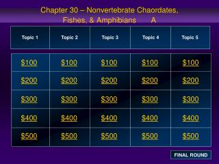 Chapter 30 – Nonvertebrate Chaordates,  Fishes, & Amphibians       A