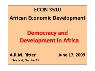 ECON 3510   African Economic Development Democracy and Development in Africa