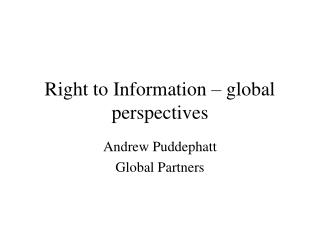 Right to Information – global perspectives