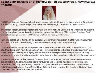 LEGENDARY SINGERS OF CHRISTMAS SONGS CELEBRATED IN NEW MUSIC