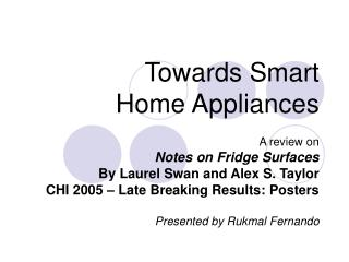 Towards Smart  Home Appliances