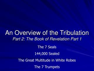 An Overview of the Tribulation Part 2: The Book of Revelation Part 1