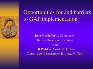 Opportunities for and barriers to GAP implementation