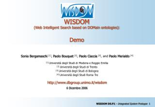 WISDOM  (Web Intelligent Search based on DOMain ontologies): Demo